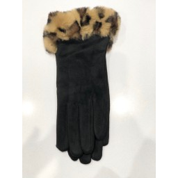 Malissa J Animal Faux Fur Cuff Gloves - Leopard Print Brown