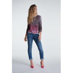 Oui Pink Leopard Fine Knit Jumper - Pink Leopard