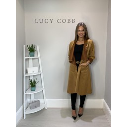 Lucy Cobb Susie Faux Suede Waterfall Coat - Camel