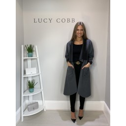 Lucy Cobb Susie Faux Suede Waterfall Coat - Grey