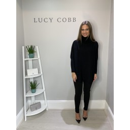 Lucy Cobb Tara Triple Pocket Roll Neck - Black