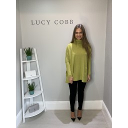 Lucy Cobb Tara Triple Pocket Roll Neck - Chartreuse