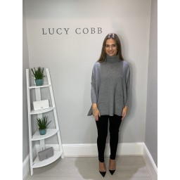 Lucy Cobb Tara Triple Pocket Roll Neck - Grey