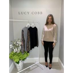 Lucy Cobb Sasha Sparkle Sleeve Jumper - Beige