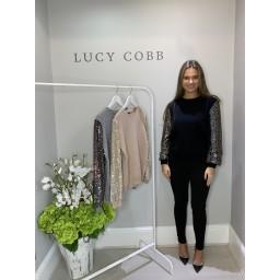 Lucy Cobb Sasha Sparkle Sleeve Jumper - Black