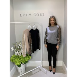 Lucy Cobb Sasha Sparkle Sleeve Jumper - Grey