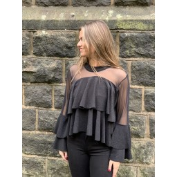 Lucy Cobb Samba Sparkle Ruffle Top - Black