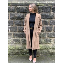 Oui Vigin Wool Wrap Coat in Camel