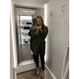 Lucy Cobb Jess Boucle Coat in Khaki