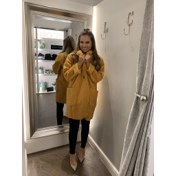 Lucy Cobb Jess Boucle Coat in Mustard