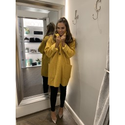 Lucy Cobb Jess Boucle Coat in Yellow