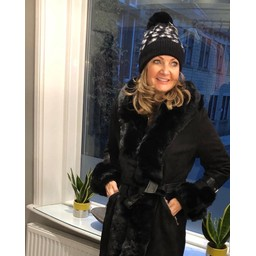 Lucy Cobb Animal Print Bobble Hat - Black