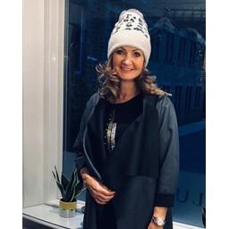 Lucy Cobb Animal Print Bobble Hat - Grey