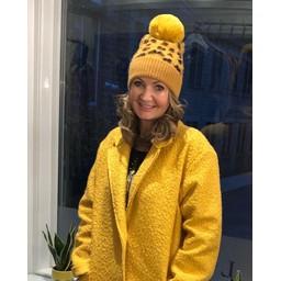 Lucy Cobb Animal Print Bobble Hat - Mustard