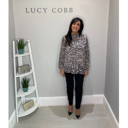 Lucy Cobb Clemmie High Neck Animal Print Top - Cream