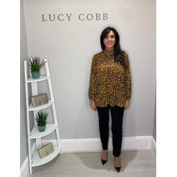 Lucy Cobb Clemmie High Neck Animal Print Top - Mustard