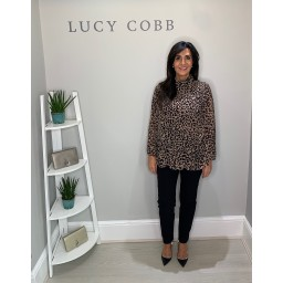 Lucy Cobb Clemmie High Neck Animal Print Top in Taupe
