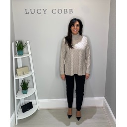 Lucy Cobb Christy Side Tie Jumper in Stone