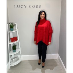 Lucy Cobb Cable Knit Roll Neck - Red