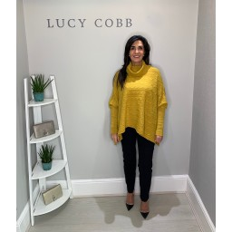Lucy Cobb Cable Knit Roll Neck - Mustard
