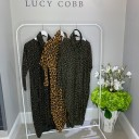 Leopard Snood Dress - Khaki