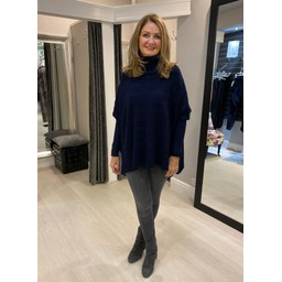 Lucy Cobb Cable Knit Roll Neck - Navy