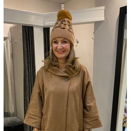 Lucy Cobb Animal Print Bobble Hat - Taupe