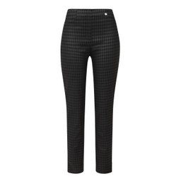 Robell Trousers Rose Dogtooth Check Trousers - Black Check