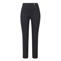 Robell Trousers Rose Dogtooth Check Trousers in Navy Check