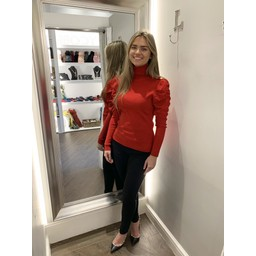 Lucy Cobb Patsy Puff Sleeve Polo Neck in Red