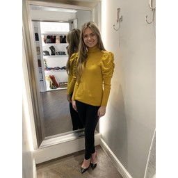 Lucy Cobb Patsy Puff Sleeve Polo Neck in Tumeric