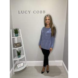Lucy Cobb Star Jumper in Denim Blue