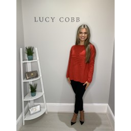 Lucy Cobb Super Soft Luxury Star Jumper in Red