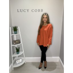 Lucy Cobb Georgie Bobble Panel Jumper - Burnt Orange