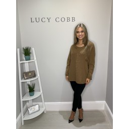 Lucy Cobb Georgie Bobble Panel Jumper - Camel