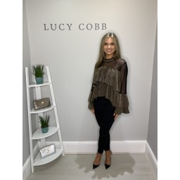 Lucy Cobb Samba Sparkle Ruffle Top - Gold