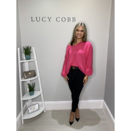 Lucy Cobb Verity Chunky Knit V neck - Fuchsia
