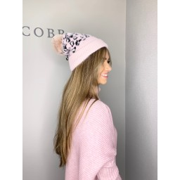 Lucy Cobb Animal Print Bobble Hat - Pink