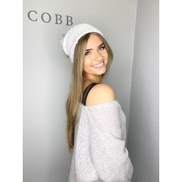 Lucy Cobb Sparkle Pom Pom Hat  - White
