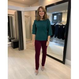 Robell Trousers Marie Full Length Velvet Trousers in Aubergine
