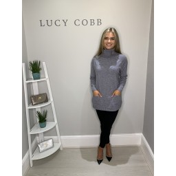 Lucy Cobb Sparkle Katia Cowl Neck Jumper - Grey