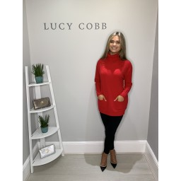 Lucy Cobb Sparkle Katia Cowl Neck Jumper - Red