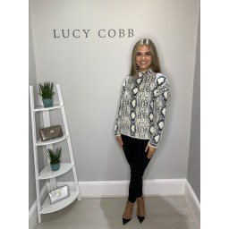 Lucy Cobb Abbie Snake Print Jumper  - Cream