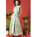 Rosie Ruffle Maxi Dress - Metallic Green