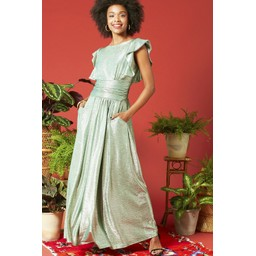 Onjenu Rosie Ruffle Maxi Dress - Metallic Green