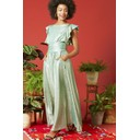 Rosie Ruffle Maxi Dress - Metallic Green - Alternative 2