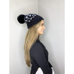 Lucy Cobb Animal Print Bobble Hat - Black