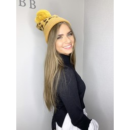 Lucy Cobb Animal Print Bobble Hat - Mustard