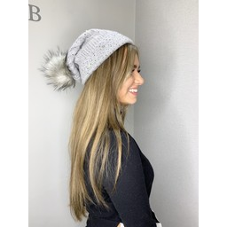 Lucy Cobb Sparkle Pom Pom Hat  - Grey