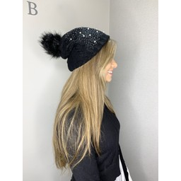 Lucy Cobb Pearl Stud Bobble Hat - Black